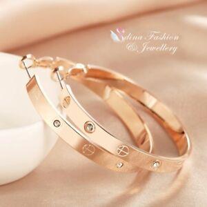 18K-White-amp-Rose-Gold-Filled-Diamond-Round-Cross-5cm-Band-Medium-Hoop-Earrings