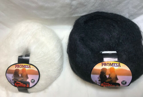 Katia Mohair Yarn in Black or White You Choose 50g//131yds per skein Mohair//Poly