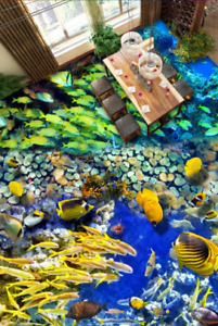3D Green gold Fishs 5 Floor WallPaper Murals Wall Print 5D AJ WALLPAPER UK Lemon