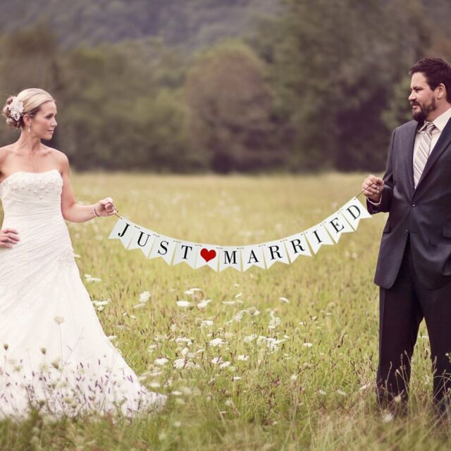 Red White Just Married Personalised Wedding Venue or Reception Bunting Banner