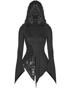 Punk-Rave-Womens-Gothic-Hooded-Top-Black-Dieselpunk-Shredded-Witch-Apocalyptic