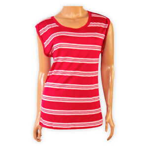Womens-Ladies-Crew-Neck-Striped-Casual-Vest-Top-Red-White-Sleeveless-T-Shirt-Tee