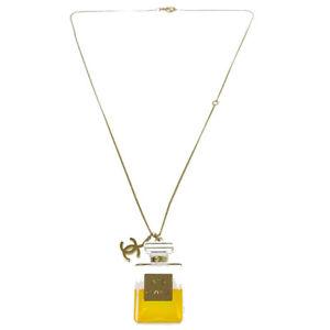 f9b62309c1051e Authentic CHANEL Vintage CC Logos Perfume Bottle Gold Chain Necklace ...