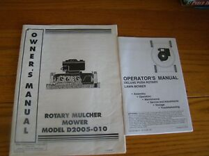 Details about NOMA ROTARY MULCHER MOWER MODEL D 2005-010 OWNERS & OPERATORS  MANUAL
