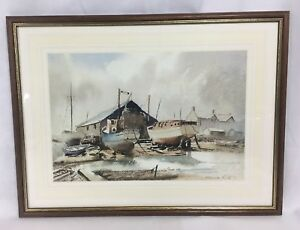 Claud-Kitto-Watercolour-Boats-Before-A-Boathouse-Mounted-Framed-Signed-Nautical