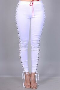 Details about White Denim Side Lace Up Rope High Waist Stretch Pants  Jeggings Leggings S M L 221f7a100