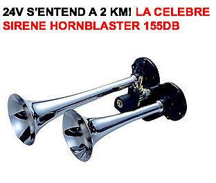 24V SPECIAL CAMION!!! SIRENE KLAXON AMERICAINE HORNBLASTER 2 TROMPES 155db!!!