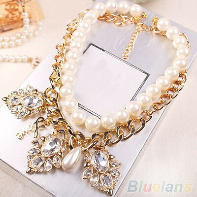 Separable Large Rhinestone Charms Bold Pearl Chain Statement Banquet Necklace