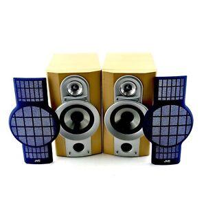 JVC-Lautsprecher-sp-uxg6-Teak-Case-blau-Gitter-24w-6-Ohm-Super-Zustand-schoener-Klang