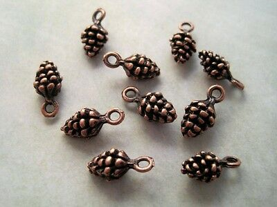 Antique Copper Pine Cone Charms (10) - P084 Jewelry Finding
