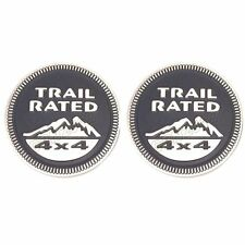 2x Grey Alloy Trail Rated Nameplate 4X4 3D Badge Emblem Sticker For Jeep Offroad