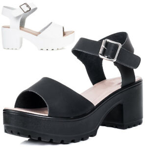 Image is loading Womens-Platform-Chunky-Sole-Block-Heel-Sandals-Shoes
