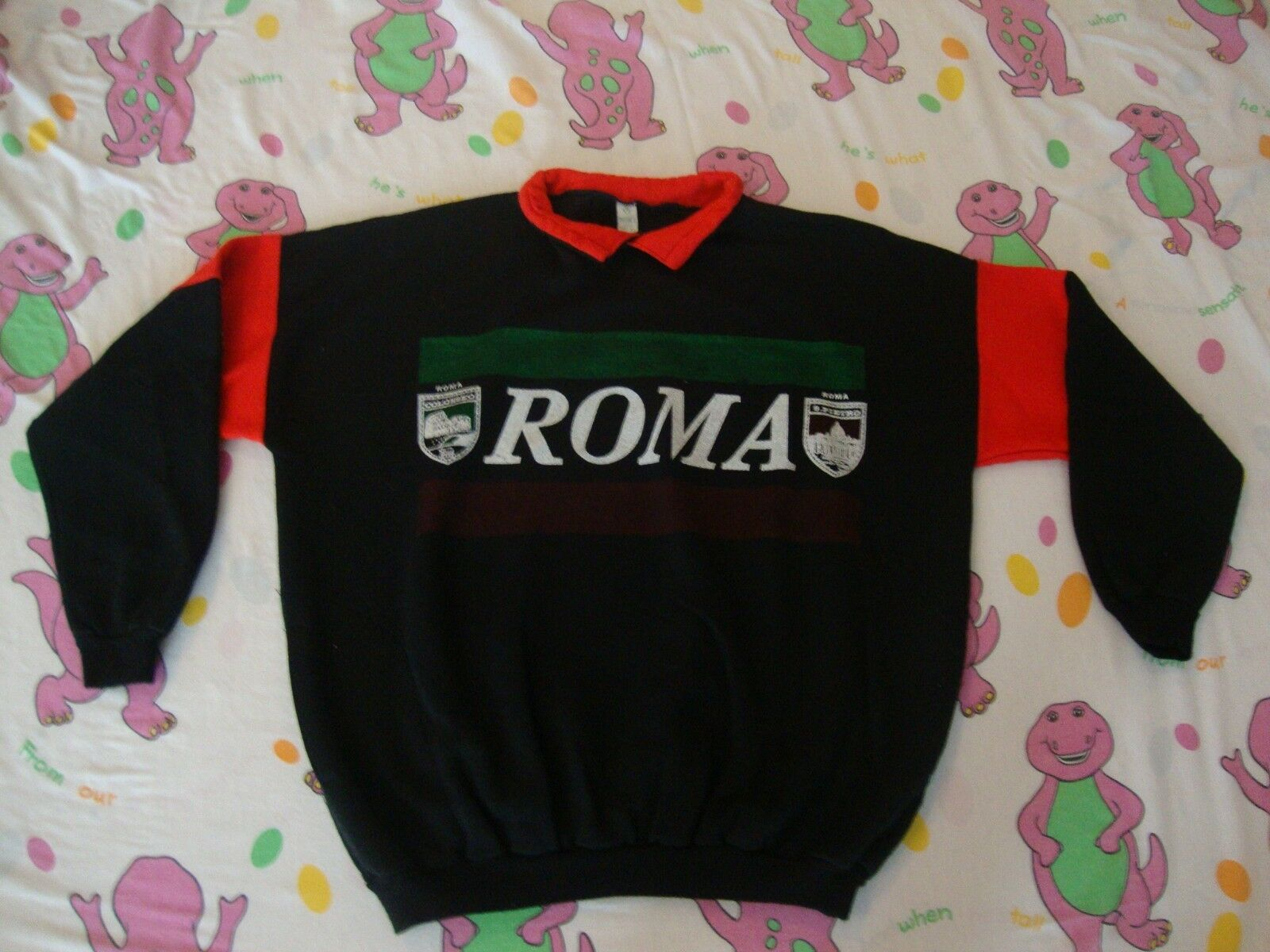 Vintage ROMA Colosseo S. Pietro  Rap Hip Hop Collar Sweatshirt XL