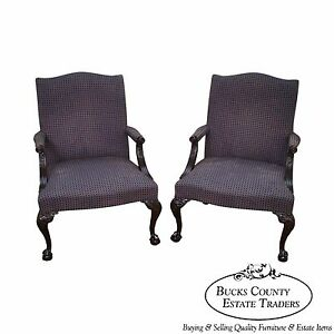Hickory-Chair-Pair-of-Mahogany-Chippendale-Style-Library-Arm-Chairs