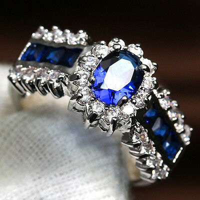 Fashion Jewelry Blue Sapphire Wedding Ring Women's 925 Silver Gift#7-11