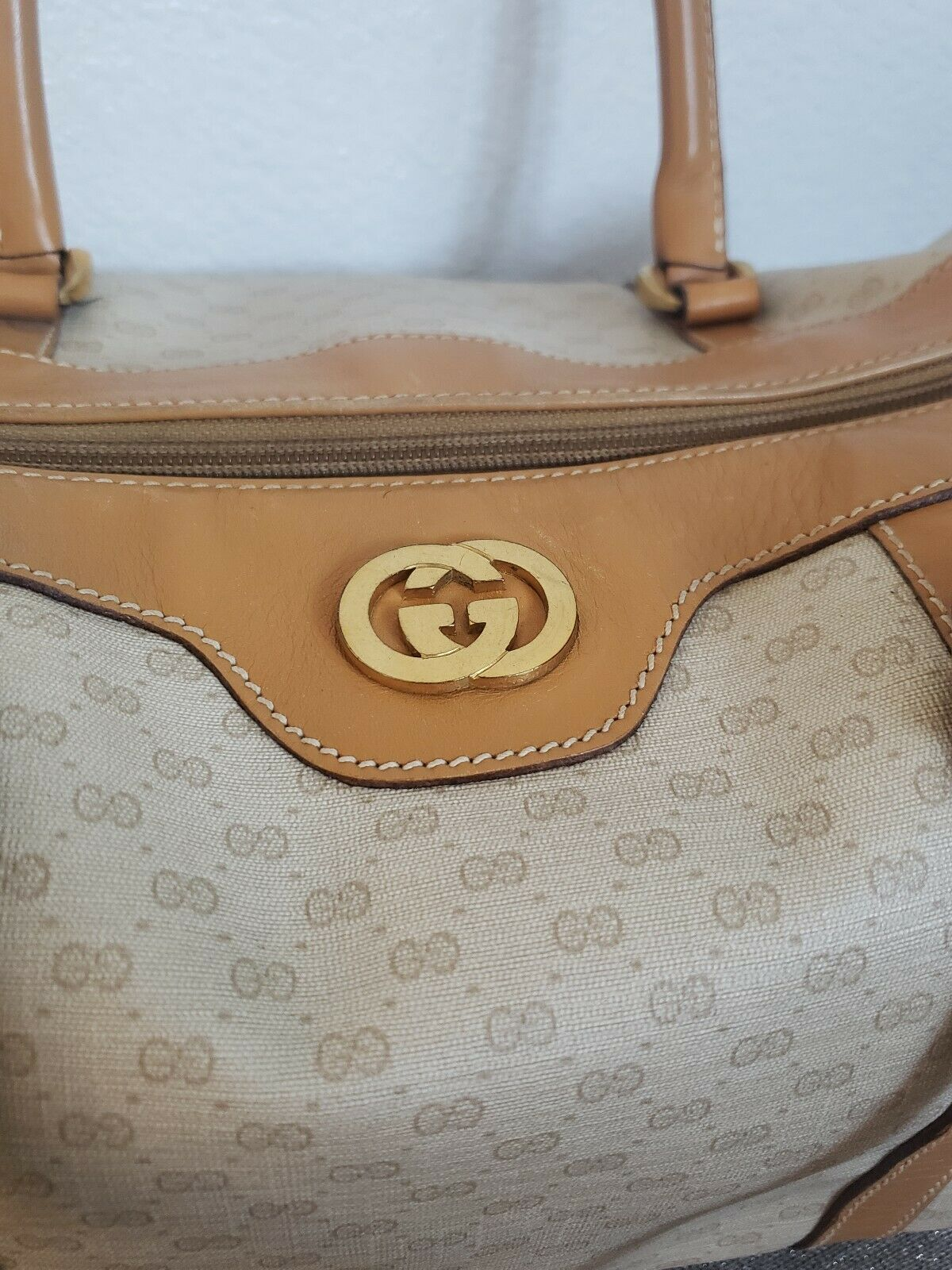 Vtg Gucci Tan GG Monogram Signature Boston Doctor… - image 3