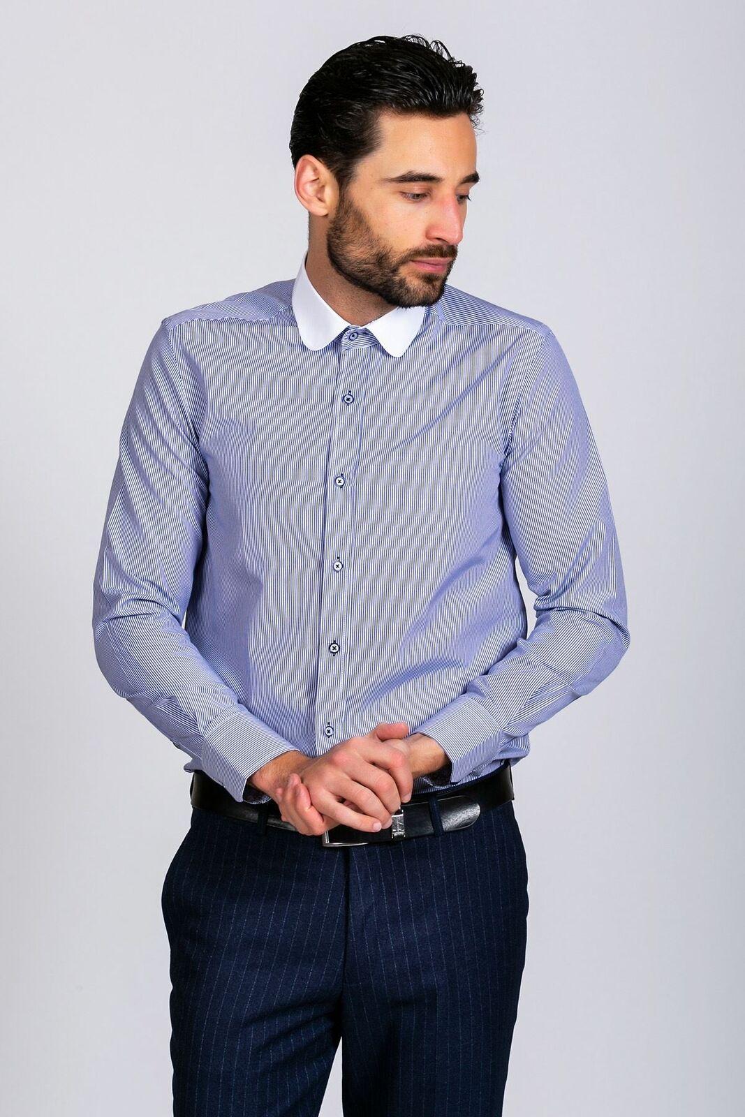 Herren Stripe Club Collar Shirt Peaky Blinders Long Sleeve Formal Geschäft Work