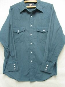 W3428-Falcon-Bay-Green-Black-Plaid-Pearl-Snap-Western-Shirt-Men-M