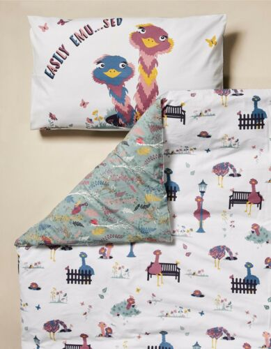 100/% Cotton Elsie Emu Childrens Duvet Cover Set Fat Face Kids Bedding