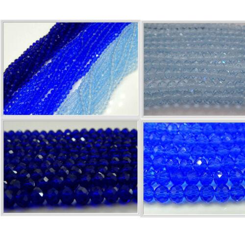 140 100 facettierte Glasperlen 4mm 6mm Rondelle blau hellblau dunkelblau