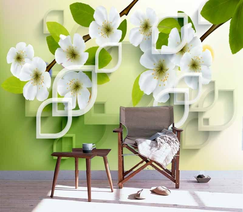 Initial Pear Flower 3D Full Wall Mural Photo Wallpaper Printing Home Kids Decor