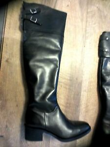 Over-the-knee-black-leather-m-by-M-NEW-Val-195E-stem-47-5-heel-5-Sizes-36-37-39