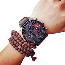 Breite Große Schwere Herrenuhr Herren Uhr Edelstahl Armband Schwarz Rot 8257