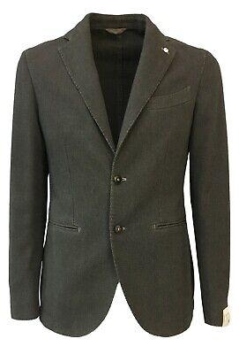 L.B.M 1911 giacca uomo blu quadri multicolor sfoderato regular slim 60/% cotone