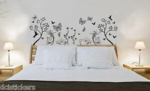 la imagen se est cargando vinilo decorativo 342 cabecero floral colibris sticker decoracion - Decoracion Paredes