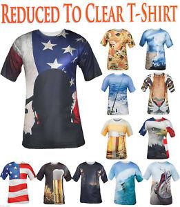 Mens-Printed-T-Shirt-US-Flag-Wolf-Hawaiian-Surfing-Bike-Beer-Round-Neck-Tee-Fast