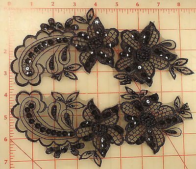 """4 amazing beaded sequins black applique pairs embroidered 2 flower design 11""""x3"""""""