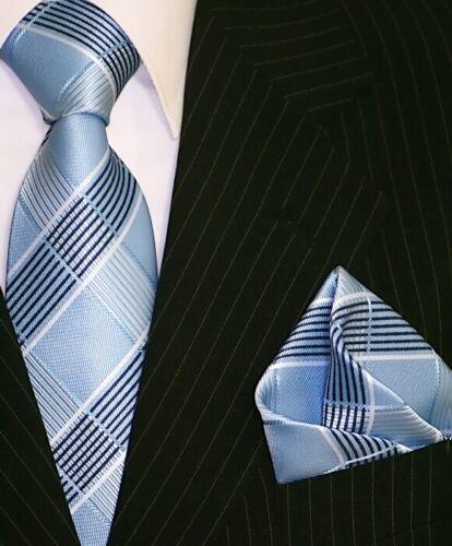 Krawatte Krawatten Set mit Einstecktuch Schlips Binder de Luxe 370 Blau karo