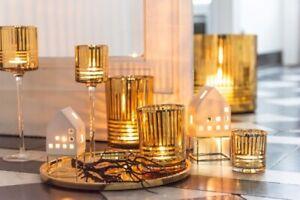 Teelichthalter-Haus-Mordern-Porzellan-Weiss-Gold-13-cm-Weihnachten-Dekoration