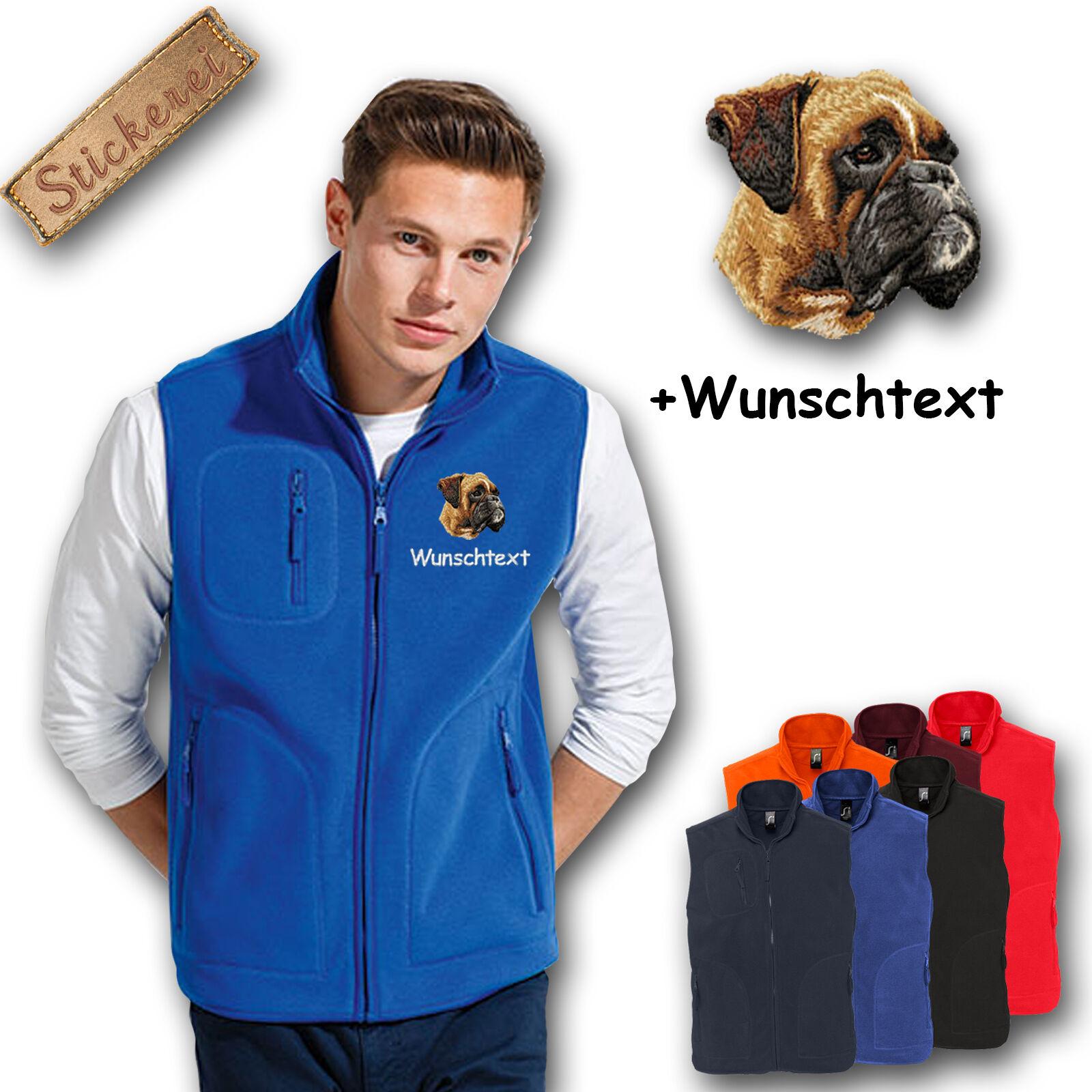 Fleece Vest Fleece Vest Embroidered Embroidery Dog Boxer + Name