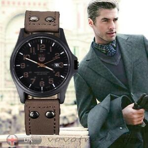 Vintage-Mens-Watch-Waterproof-Date-Leather-Strap-Sport-Quartz-Army-Watch-Gift