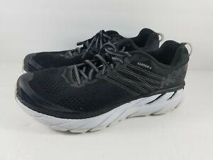 HOKA-ONE-ONE-Clifton-6-Size-10-5-US-Men-039-s-Running-Shoes-Black-White-1102872-BWHT