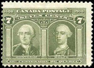 1908-Mint-Canada-F-Scott-100-7c-Quebec-Tercentenary-Issue-Stamp-Hinged