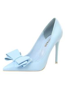acquisto autentico originale più votato stili di grande varietà Dettagli su decolte scarpe donna eleganti azzurro tacco 10.5 stiletto pelle  sintetica 1740