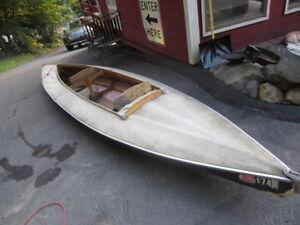 17 foot vintage 2 person canvas kayak boat canoe nice shape floats