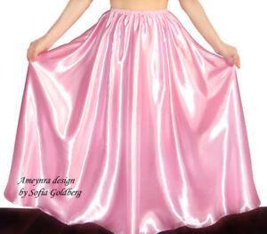 Satin Skirt Ameynra Design Long Full Length Light Pink All Sizes