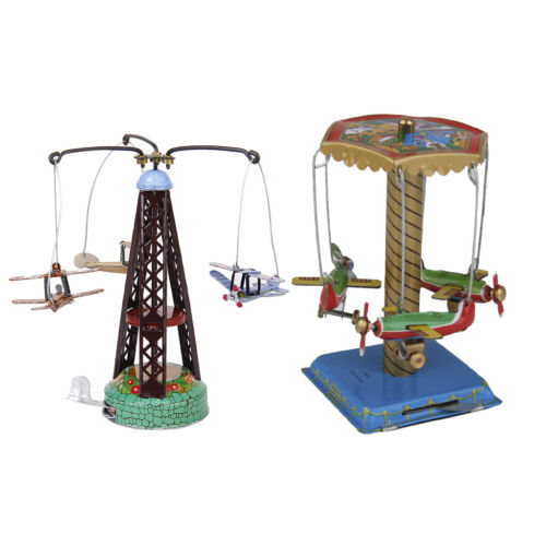 2x Windup Spinning Planes Aeroplane Model Mechanical Clockwork Toys Room Decor
