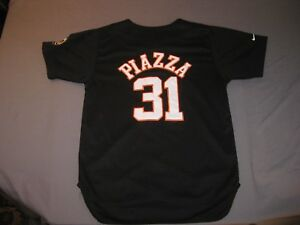 new arrival 37175 f4557 Details about NIKE NEW YORK METS MIKE PIAZZA JERSEY BLACK YOUTH LARGE 16-18  NICE!