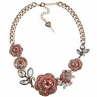 Betsey Johnson Necklace Statement Big Ombre Pave Rose Charm