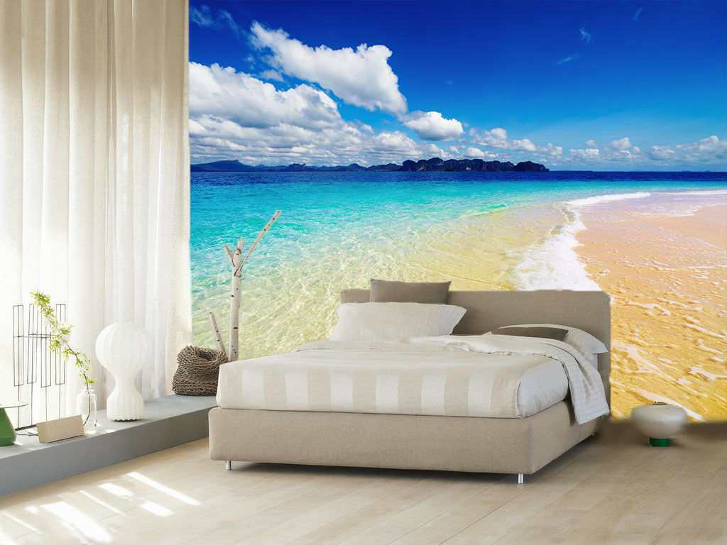 3D Beach Tidal Clouds 4 Wallpaper Wall Print Decal Wall Decor Indoor Mural Lemon