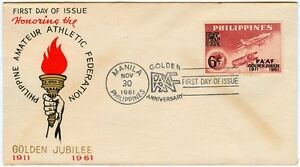 Honoring-The-PHILIPPINE-AMATEUR-ATHLETIC-FEDERATION-Golden-Jubilee-1961-FDC