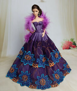 Purple Fashion Princess Dress/Clothes/Gown+Shawl For 11.5in.Doll S137U