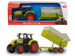 Dickie Toys 203739000 - Claas Ares 836 Rz Set - Traktor Mit Anhänger - Neu