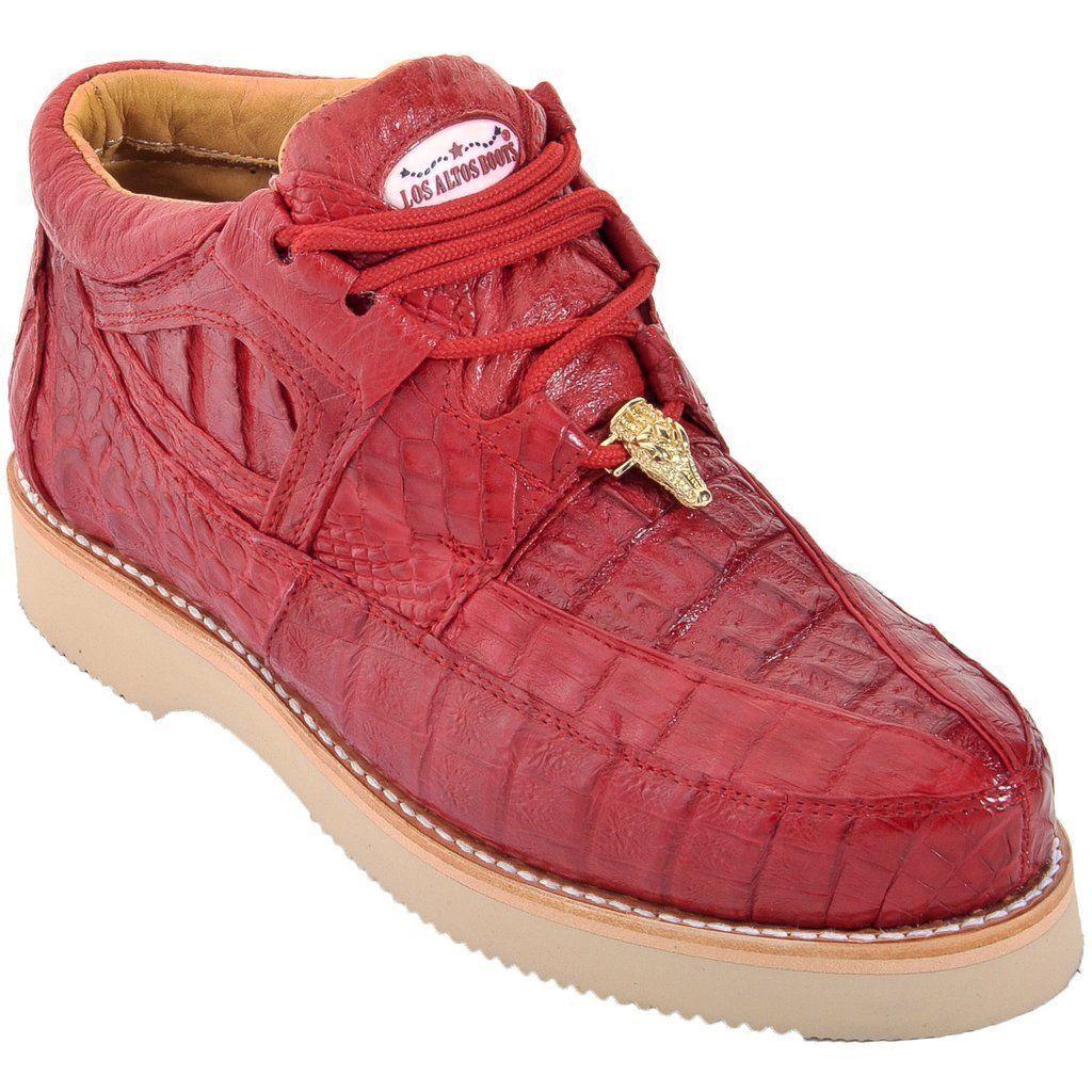 Los Altos Rojo Genuino Completo Caimán Cocodrilo Informal Zapatos Con Cordones D