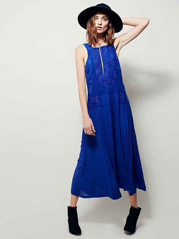 NEW FREE PEOPLE bluee Maria Midi Dress Embroidery & Drop Waist Size L  168