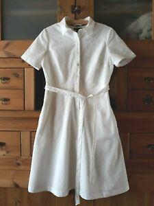 info for b5fcf f6a5c Details zu SOMMER Kleid Hemdblusenkleid Gr. 36 Kurzarm Weiß Spitze  Baumwolle Lands' End